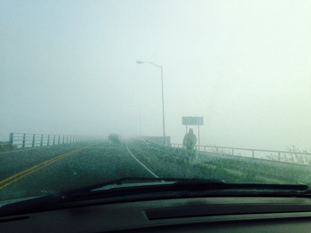 Thick fog on the way to work.