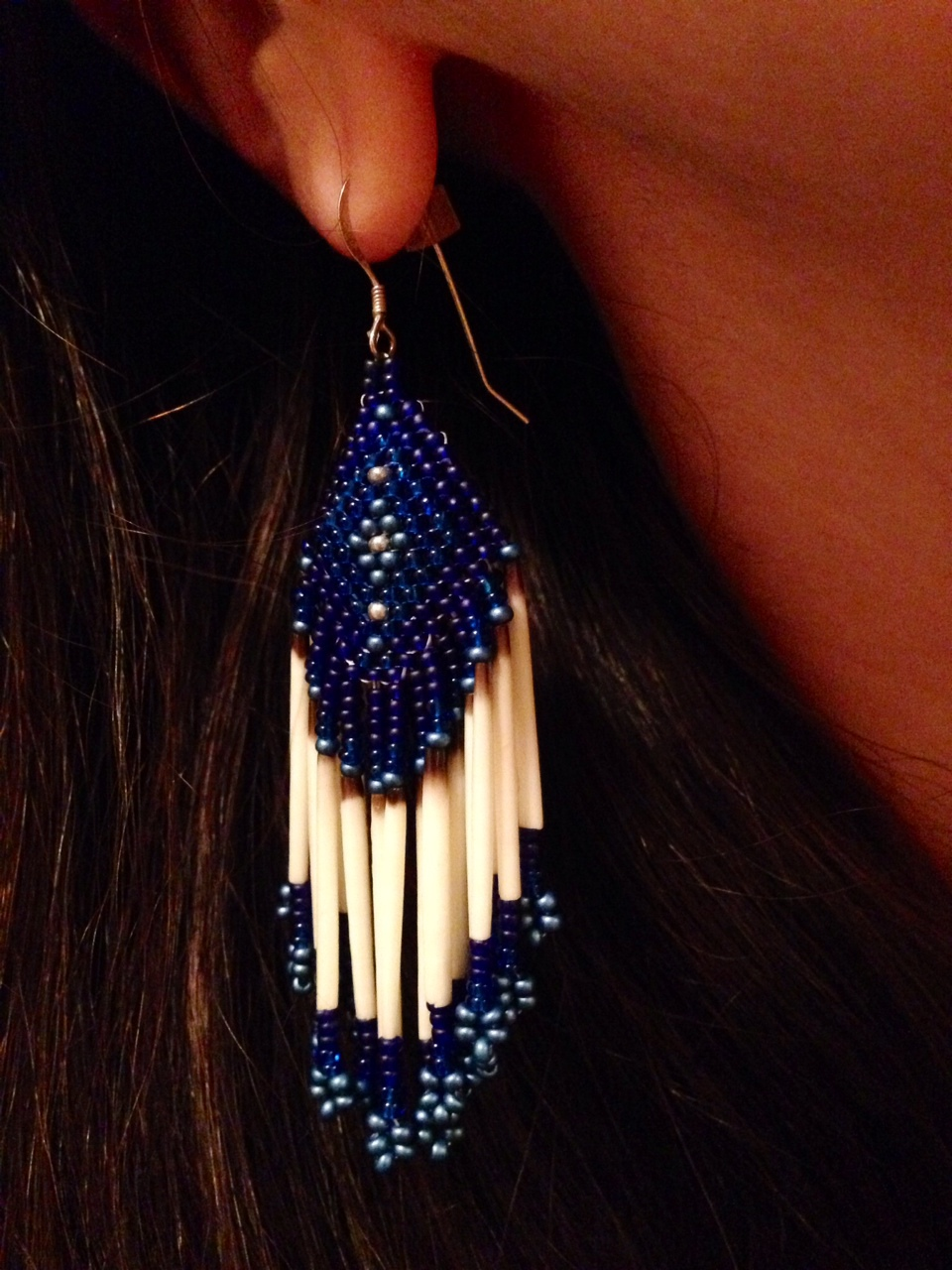 Beaded porcupine quill earrings made by my good friend, the very talented artist Keeley Kaveolook.  Check out  ByKeeley Jewelry  on Etsy.