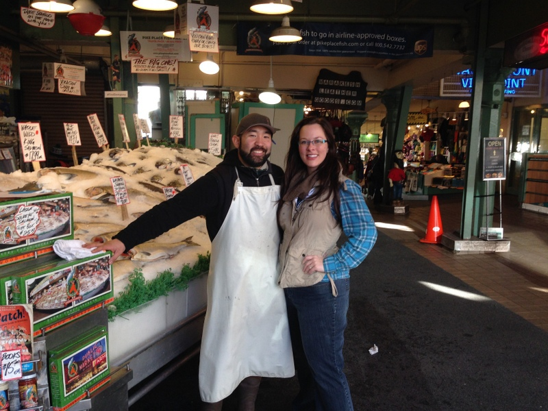 With Pike Place Market Fish Thrower, Taho Kakutani.