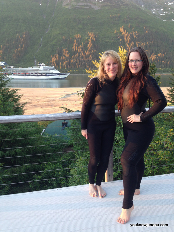 Getting outfitted in our wetsuits.  Mount Roberts and the Gastineau Channel in the background.