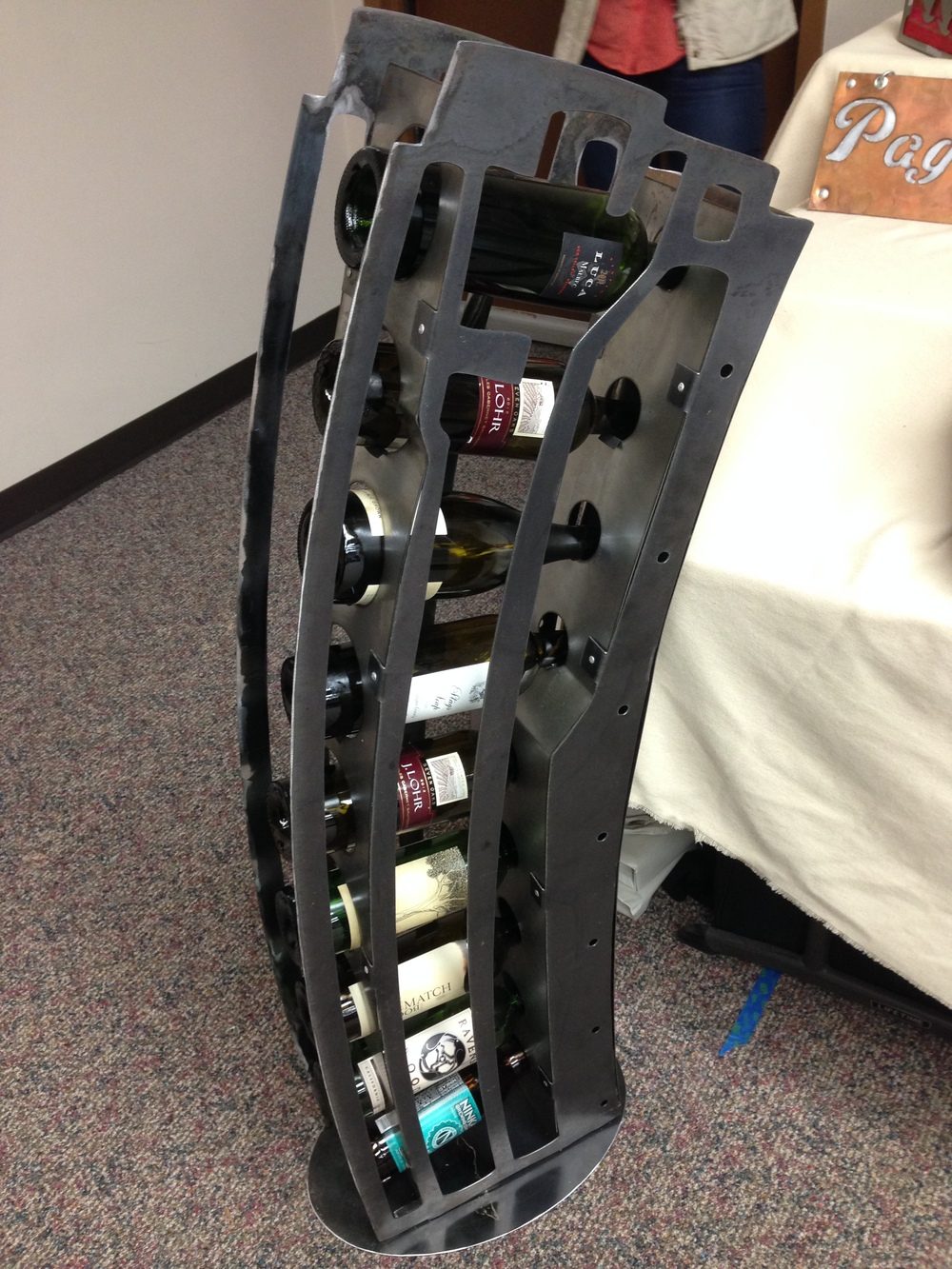 Adam Dimmitt of Eight Zero Tech constructs these steel wine racks right here in Juneau.  I want one!  (But who can keep wine in their house long enough?)