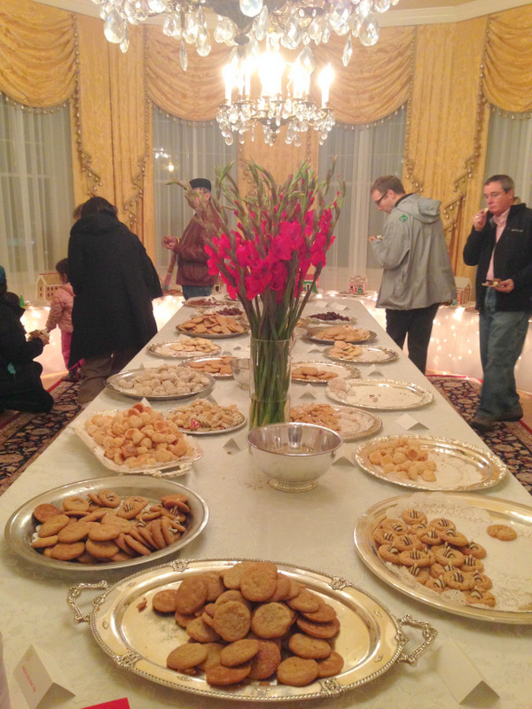 The spread of cookies and fudge in the main dining room.