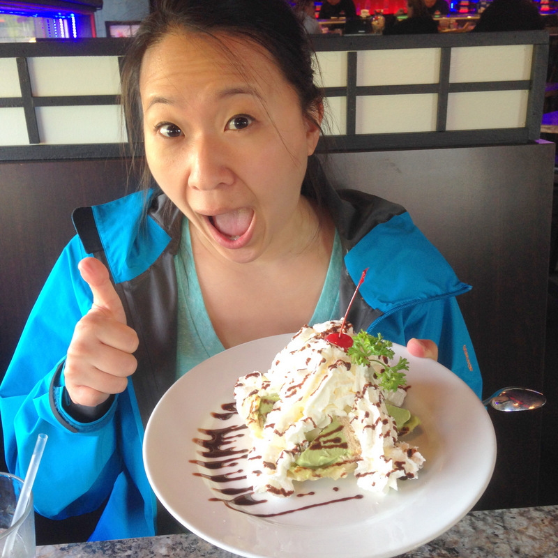 Sharon in Anchorage with her tempura fried green tea ice cream.  Yummo!