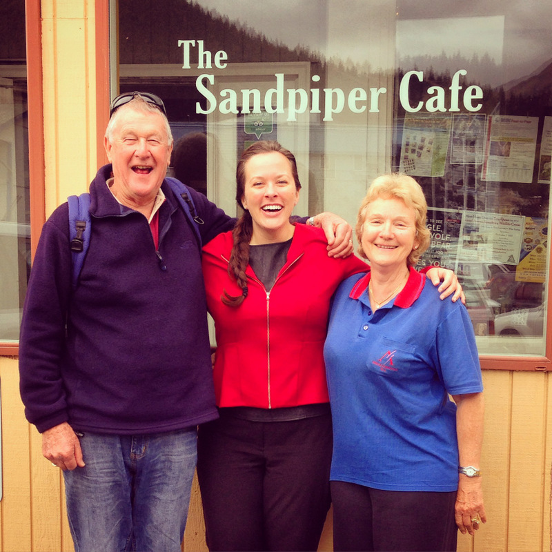 Catching up over lunch at the Sandpiper Cafe.