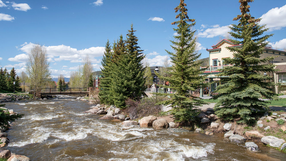 The Blue River as it runs through Breckenridge, parallel to Main Street.