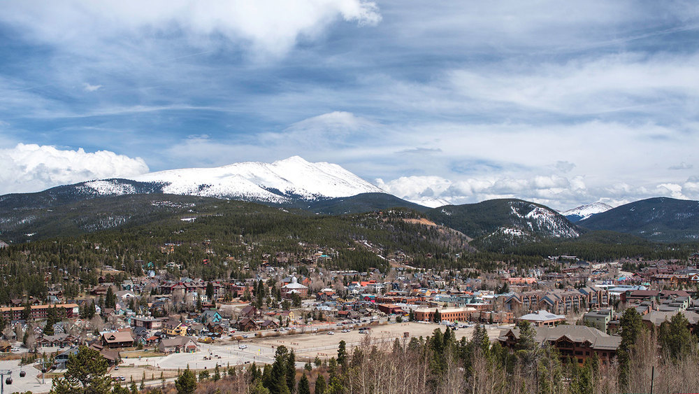 Looking east at Baldy Mountain. Much more of old town Breckenridge is visible of this photo, with the county courthouse just off center.