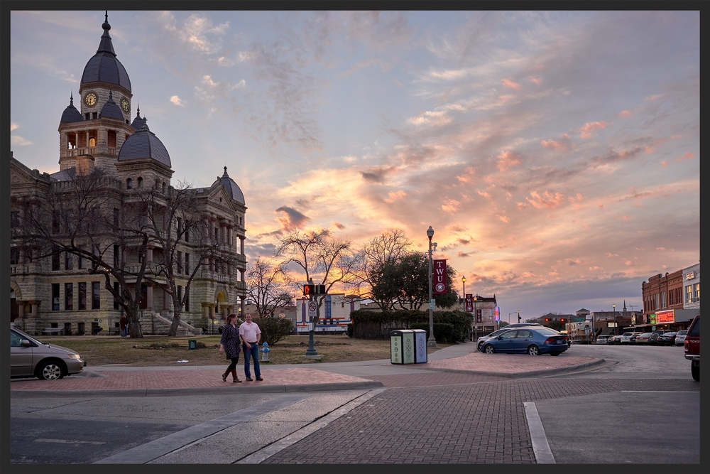 View of the courthouse on the square -  Valentines Day, 2016.