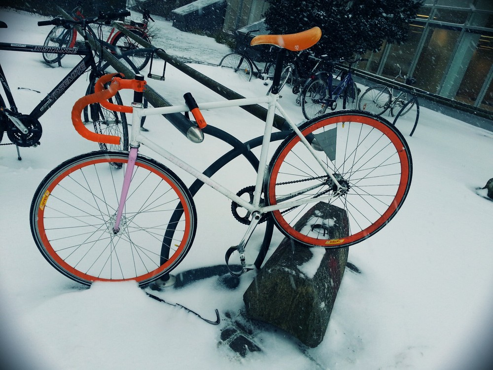 A colorful fixie in the snow