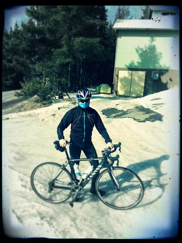 First outdoor ride, +1 degreesCelsiusand still a lot of snow around