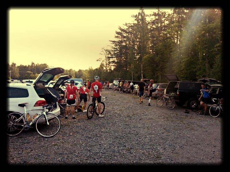 Cyclists preparing
