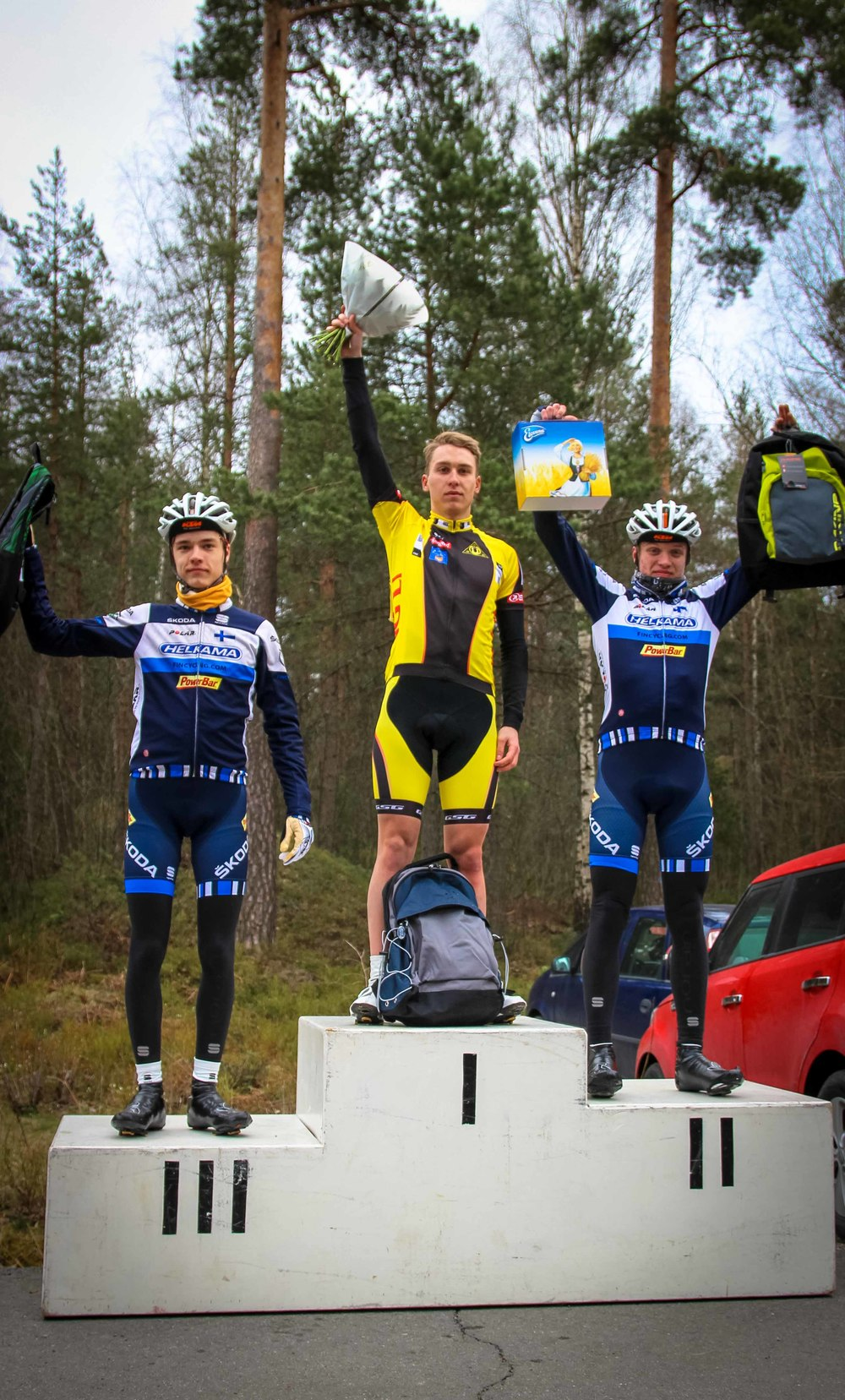 M-18 class podium Joel Bergman (3rd), Erik Relanto (1st) and Simo Terävä (2nd)