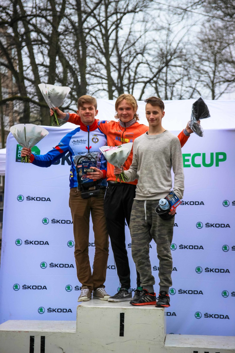 M-16 podium from left: Lahti, Juntunen, Koistinen