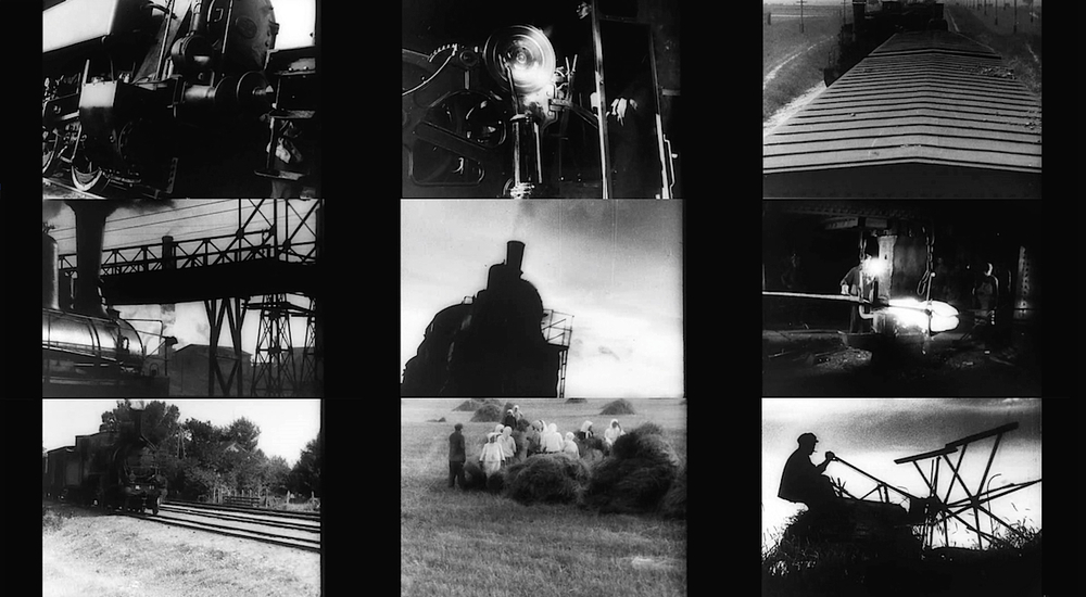 Train montage and countryside -  Enthusiasm: Symphony of the Donbass  [1931]