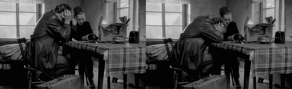 The distant sound of explosions; the torment of war: Max von Sydow and Liv Ullmann in Bergman's  Shame  [1968].