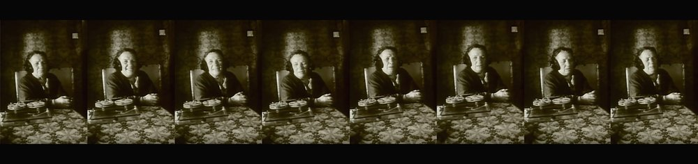 Eight portraits of a listening lady: Anna Belova listening to the sound recorder in Kossakovsky's poetic  The Belovs  [1993].