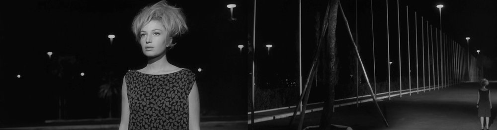 Between wonder and despair: Monica Viiti as Vittoria in  L'Eclisse  [1962] encounters a row of metal flag poles rattling in the wind. This night time sequence for me has a dream-like quality that feels both alluring and yet deeply disturbing. It unfolds as a kind of magical encounter; a random moment of clarity amidst the mundane minutia of everyday life . At the same time there's a sense of psychological discord and tension as we witness Vittoria's diminutive figure drawn to this row of tall, impersonal metal poles.