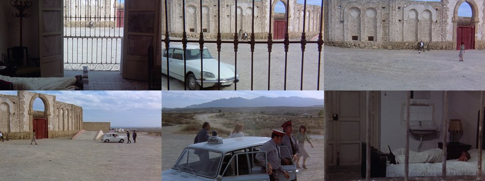 The penultimate shot in  The Passenger  [1975]: A seven-minute long tracking shot that moves from Lock's hotel room, through the iron railings and outside into the road, before returning back to the hotel. As with the use of the long take by directors like Tarkovsky, time here acts as a container for sound; the emergence of an uninterrupted audible world and the invitation to attend to it as an active listener. Time articulated through what is seen, heard and subsequently felt; the framing, composition and movement of the camera. Wind, voices, car engines, distant music, birds, footsteps on gravel, all precise sonic elements organised into a cohesive soundtrack, that still have the semblance of a 'symphony of the sound of life' in which 'the rhythmic cadence is not predictable, there is no search for a rhyme' (Chion).