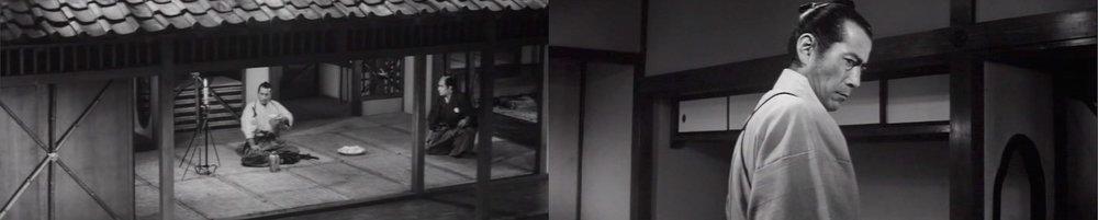 Toshiro Mifune as the retired master swordsman Isaburo Sasahara.