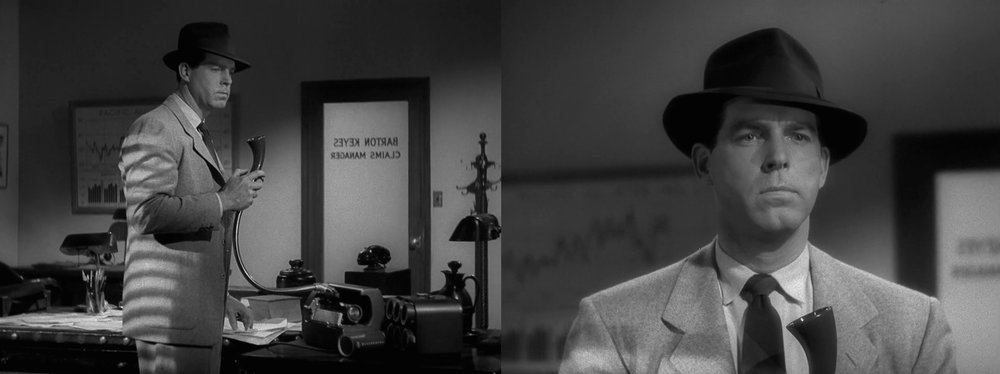 Probing the recorded past: Walter Neff (Fred MacMurray) listening to the ear piece in the film noir classic  Double Indemnity  [1944].