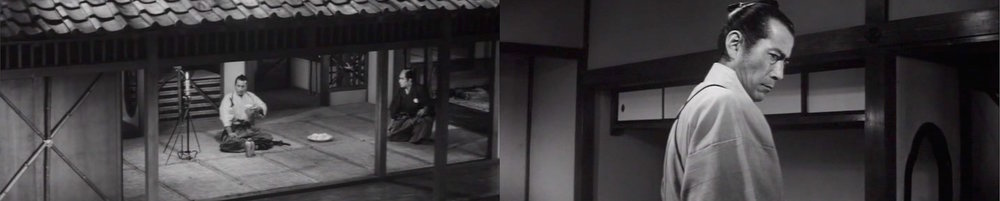 Toshiro Mifune as the retired master swordsman Isaburo Sasahara.