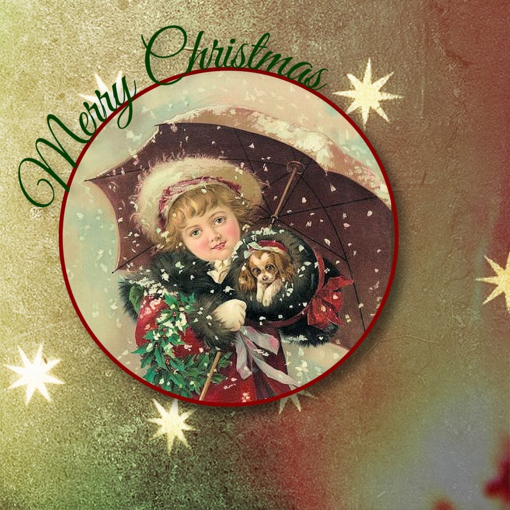 Golden Stars Vintage Christmas Card