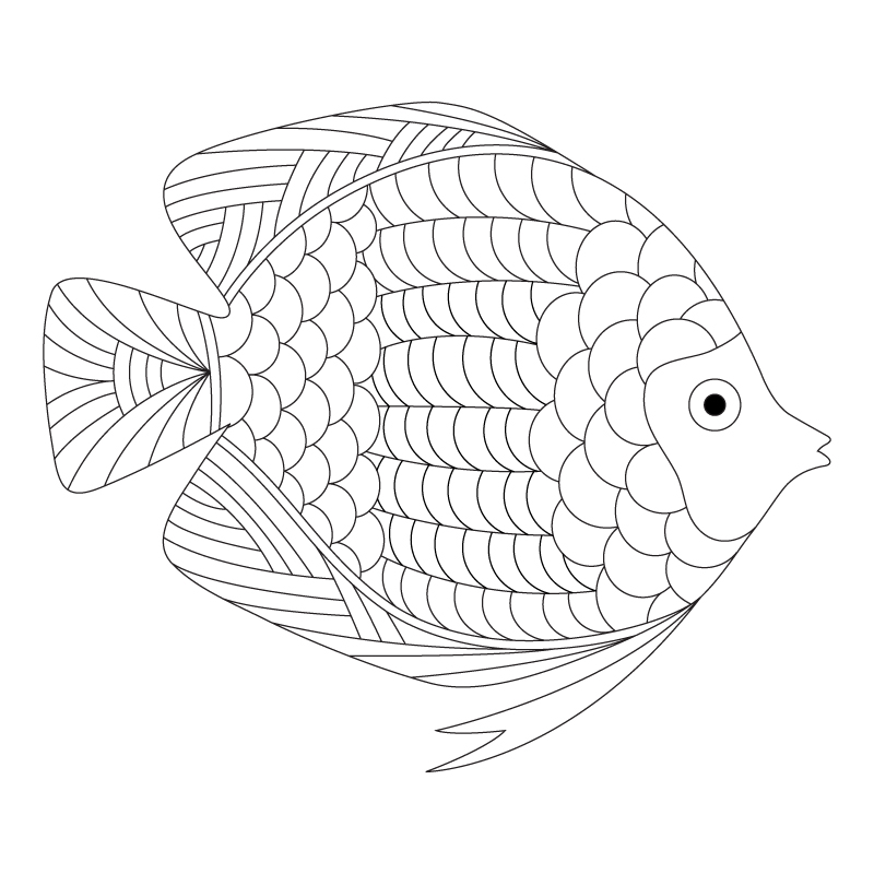 (Click Image to Download)  Printable Fish Coloring Page - Inspired By 06.02.14 Daily Doodle - 2014 (PDF)