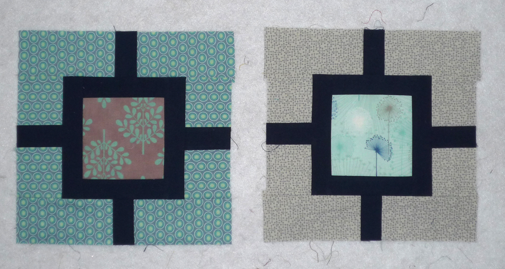 My samples for October's Bliss blocks, from the wonderful  Garden Fence tutorial  by Hyacinth Quilts.