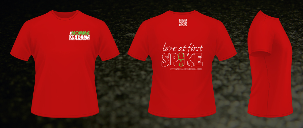 'love at first spike' t-shirt design