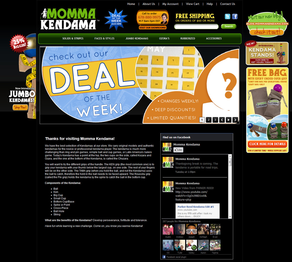 momma kendama website homepage