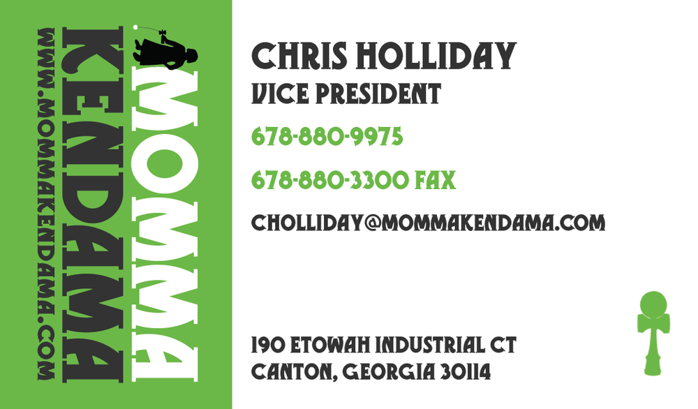 momma kendama business card - front
