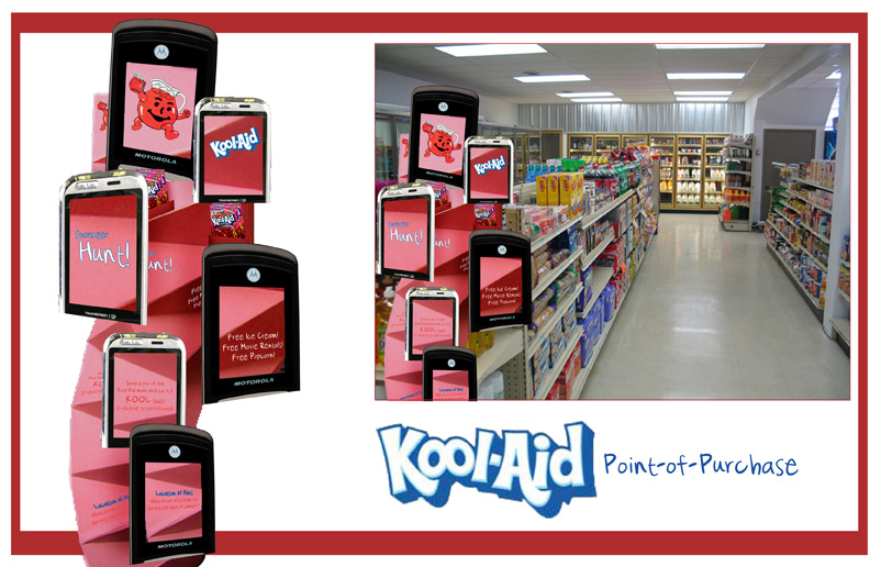 Point-of-purchase piece to show how a texting campaign would work for Kool-Aid. The idea is based around a scavenger hunt. You are told on this point-of-purchase piece to look for the Kool-Aid man icon in certain stores. If you take a picture of the icon with your cellphone and text it to a certain number, you will receive a coupon for something from that store. You are also given the next location clue so that you can go redeem your next coupon. You'll then be asked to send the smile on to your friends by texting them the first location clue so that they can redeem their own coupons. School project.