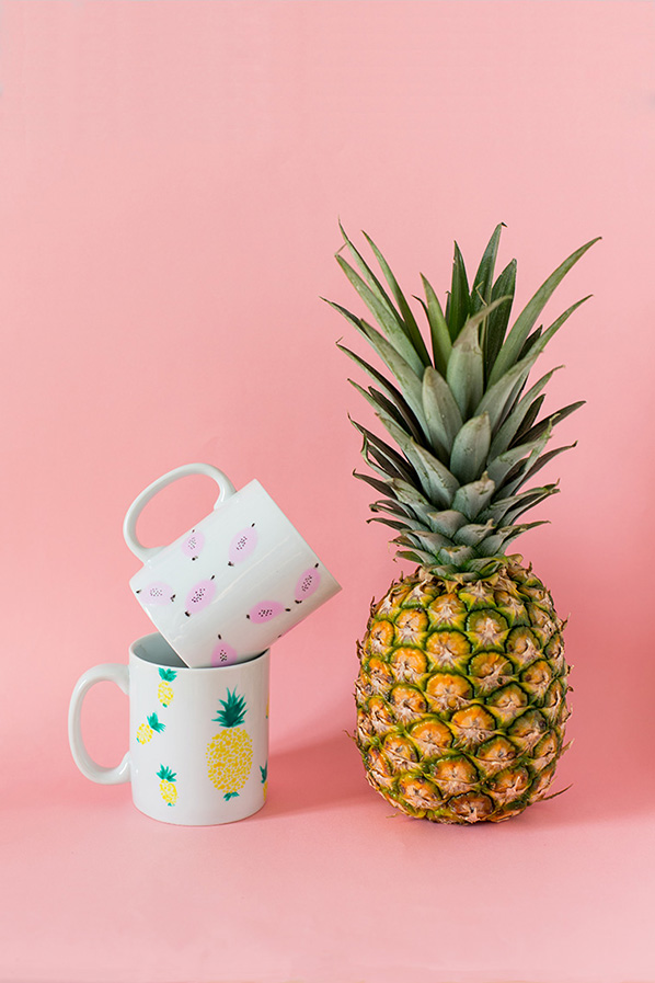 diy tropical mugs