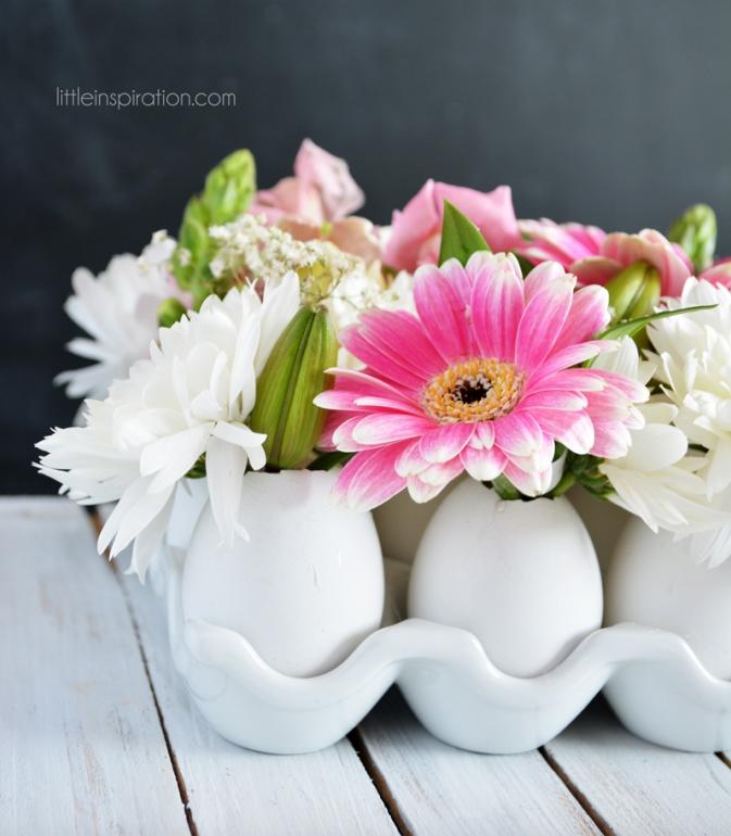 diy easter flowerbouquet eggshell centerpiece
