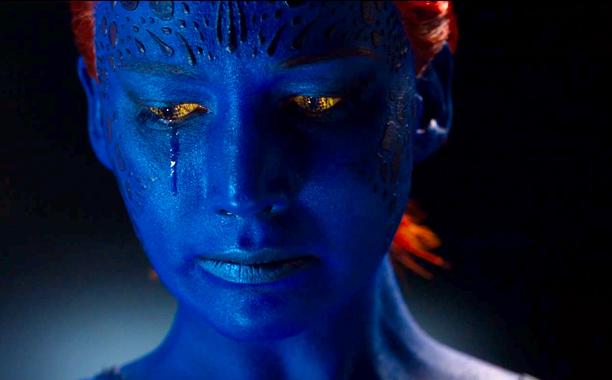 Jennifer Lawrence as Mystique. She's crying.