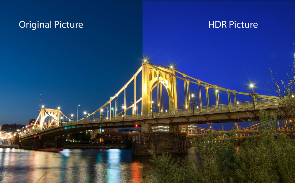 Roberto Clemente Bridge in Pittsburgh - Before & After HDR processing