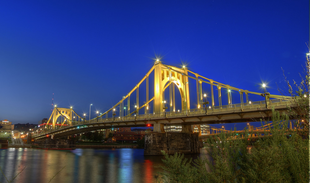 Full HDR version of Roberto Clemente Bridge in Pittsburgh