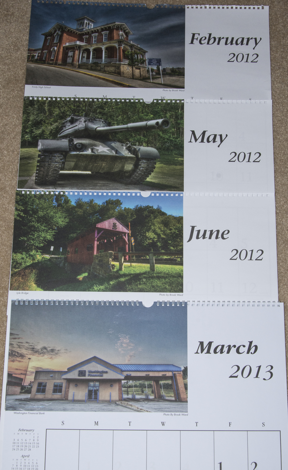 The three 2012 months and one of the 2013 months, where they used my photos for their calendars