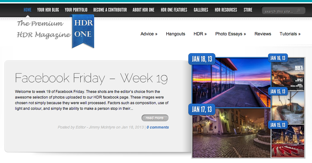 HDR One Magazine article on their top five favorite HDR photos on Facebook this week.