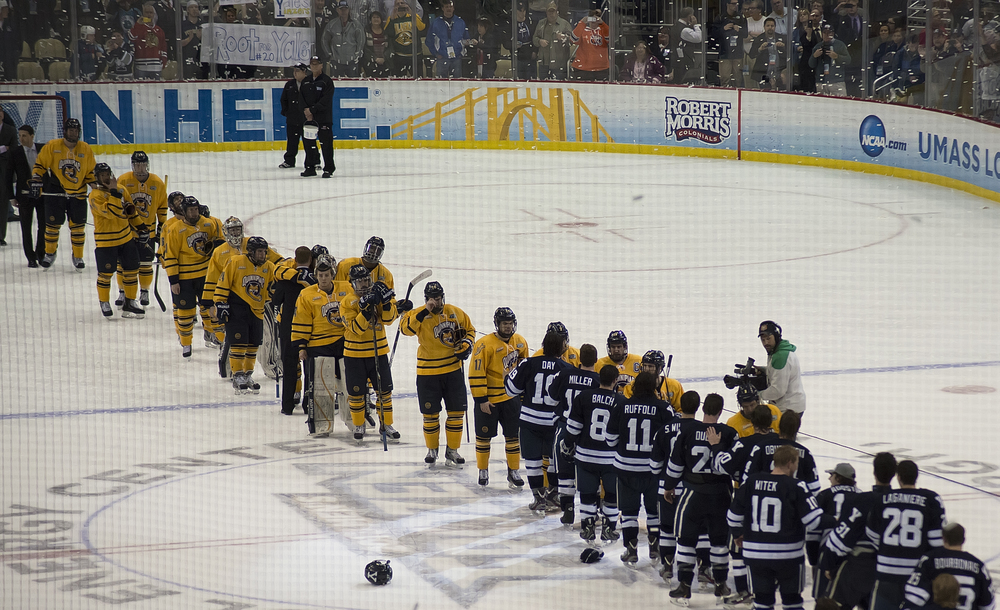 One of my favorite things about hockey, no mater the outcome, both teams complete the line up at the end.