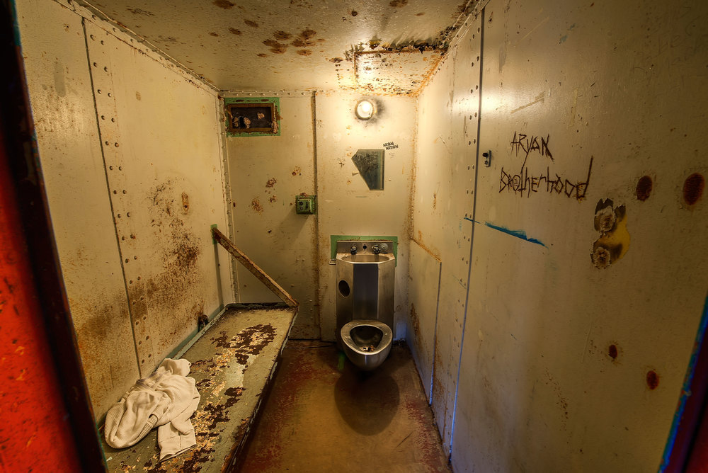 This 5' x 7' cell belonged to Red, who was stabbed over 30 times within this space.  Prior to his murder here, he was known as the worst prisoner within the facility.