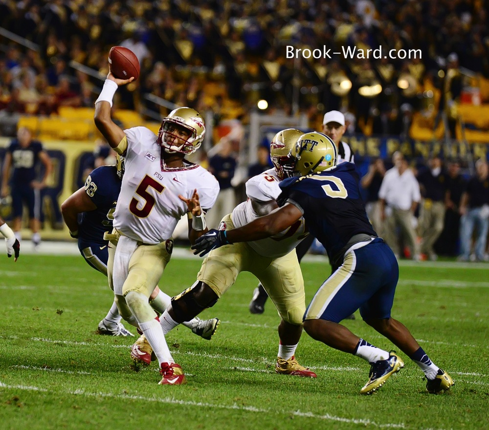 It's possible I saw the 2013 Heimen Trophy winner….FSU's #5 Jameis Winston threw for 356 yards and 4 touchdowns along with 1 running touchdown.  He was a beast and was amazing as a Freshman in his first college game.