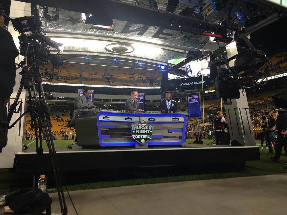 CBS Thursday Night Football crew - Left to right: James Brown, Bill Cowher, Deion Sanders.