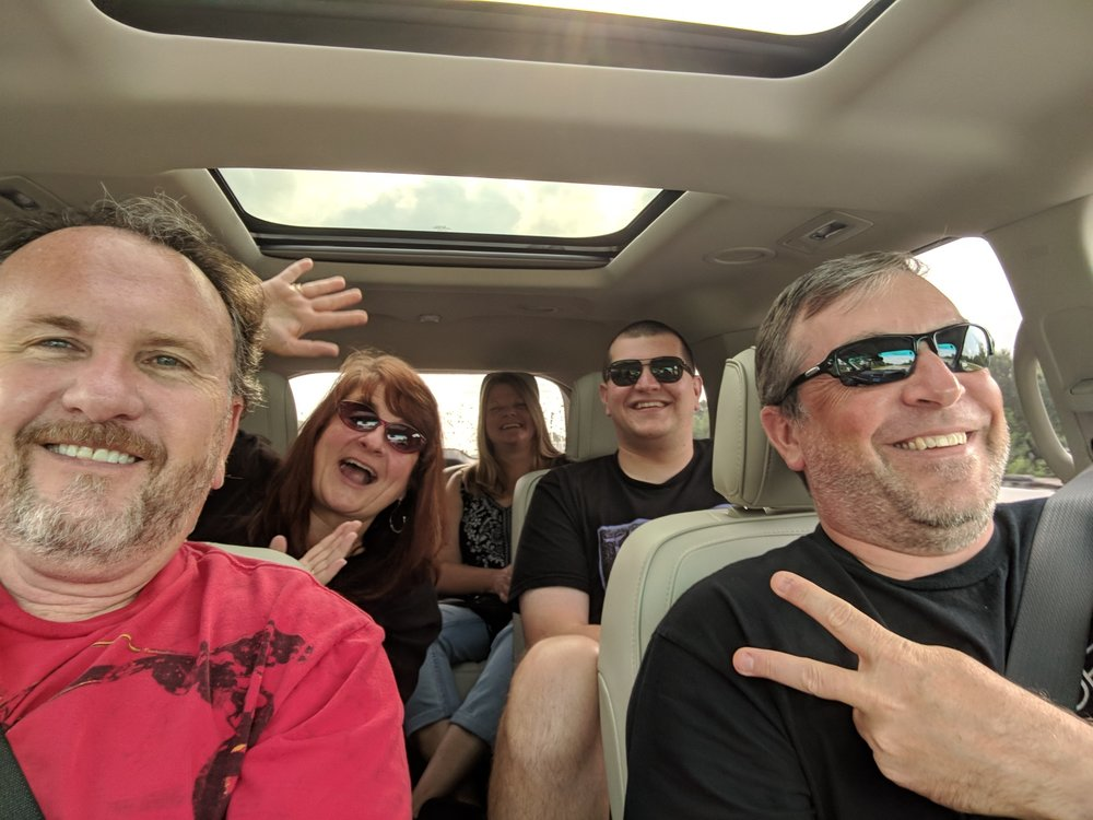 The crew traveling into Chicago - Taken with a cell phone while I drove.