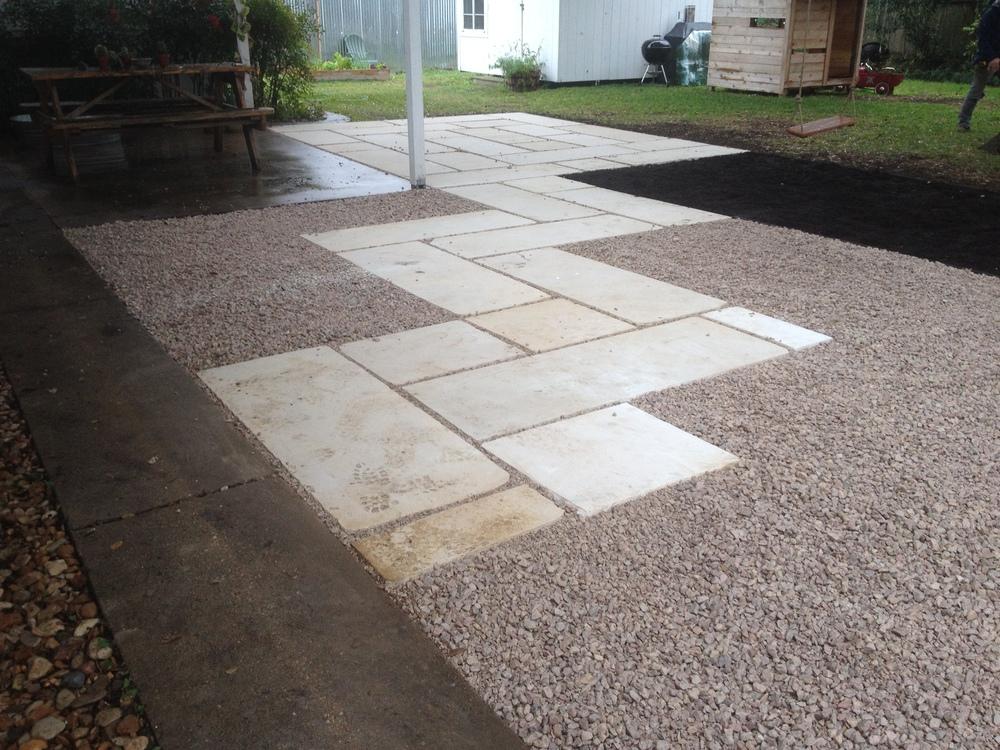 Sawed Limestone Patio