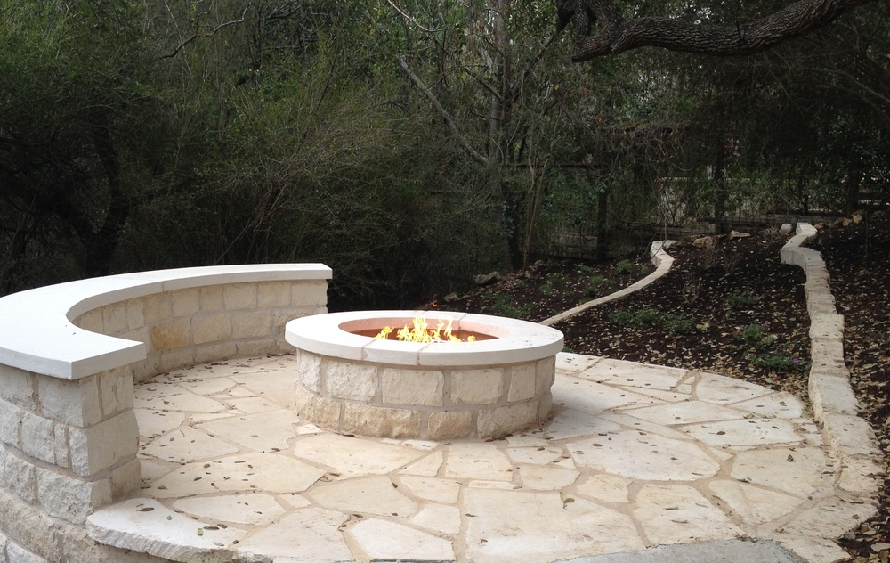Limestone Patio And Propane Firepit