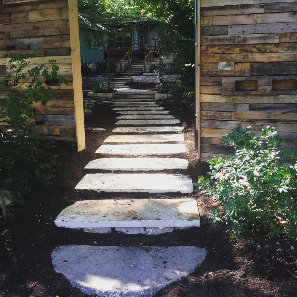 Sawed Limestone Pathway