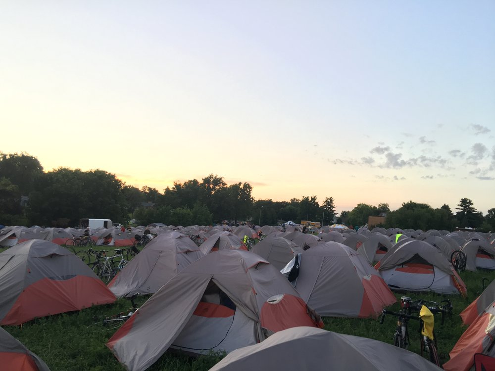 Tent city in Sigourney after the sun set