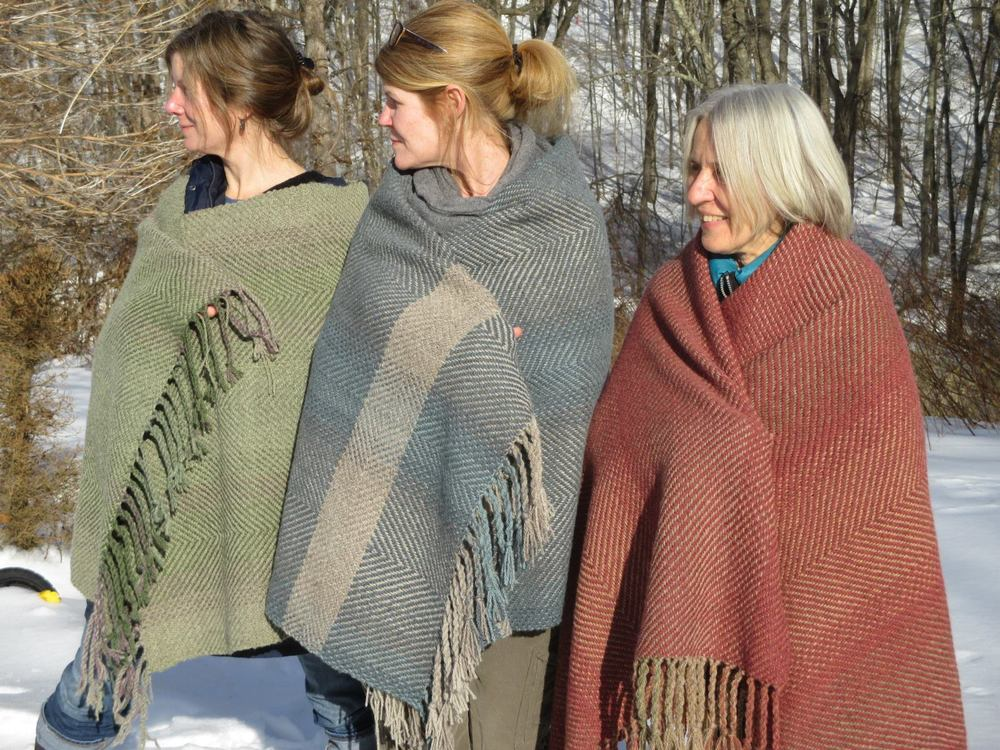 Three beautiful women with their three beautiful blankets...