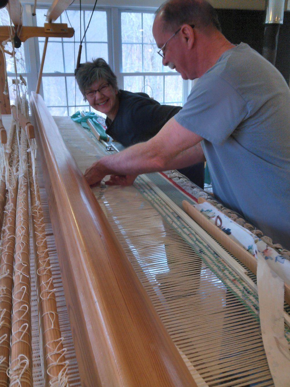 The Old Lyme studio also houses the 11-foot-wide Glimakra loom used for weaving large rugs.  A lot of smiling occurs in both studios!