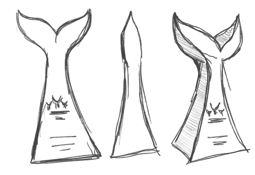A preliminary sketch of the Shorty trophy.